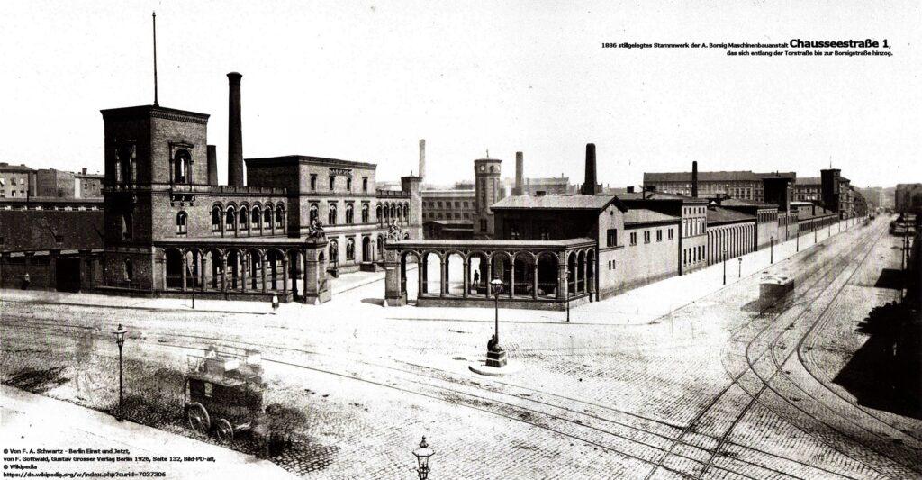 1886 stillgelegtes Stammwerk der A. Borsig Maschinenbauanstalt Chausseestraße 1, das sich entlang der Torstraße am Oranienburger Tor bis zur Borsigstraße hinzog.
