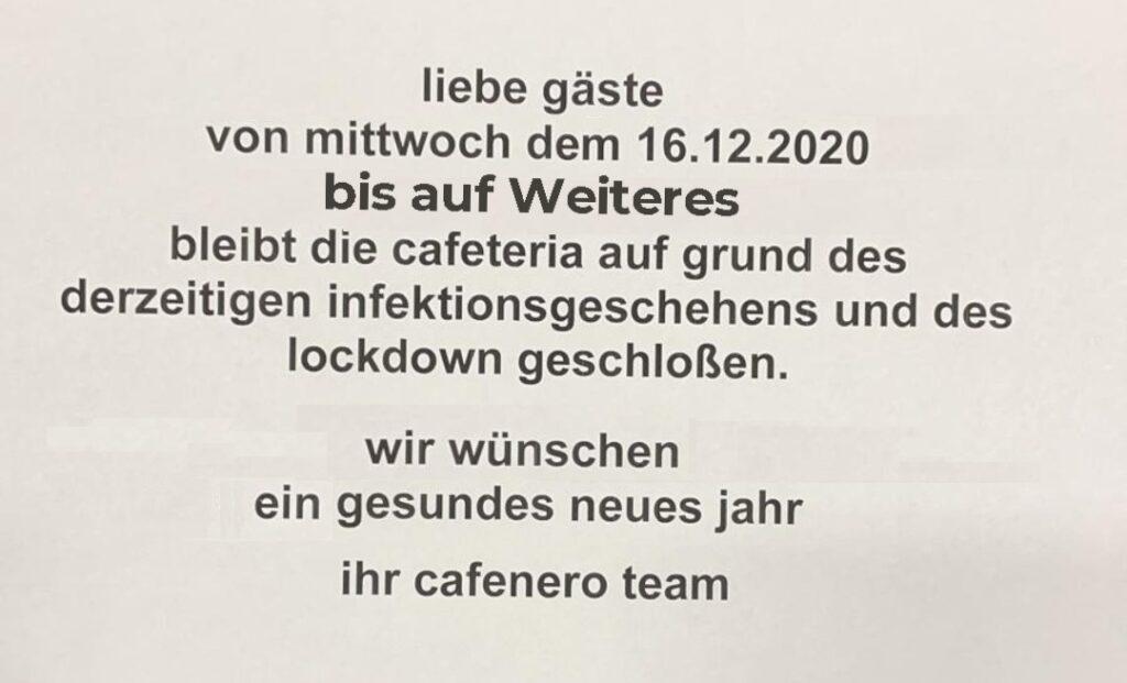 cafenero ist geschlossen